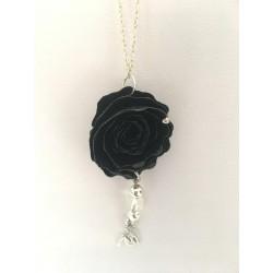 Collier papier fleur noire