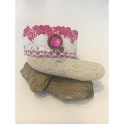 Bracelet coton rose et blanc